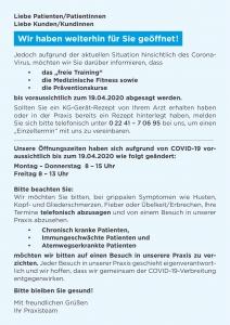 Praxis Pieper Covid-19 Hinweis